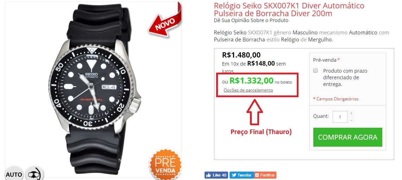 Preço final compra na Thauro Relógios - Compra Fora Correios, será que compensa mesmo?